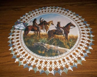 Horse Lovers Crochet Doily Horse Decor Native American Chief Two Braves Horseback Fabric Center Crocheted Edge Lace Doilies Centerpiece Gift