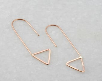 minimal triangle earrings, modern geometric threader earrings, rose gold earrings, Rachel Wilder Handmade Jewelry