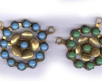 vintage CONNECTORS PRONG SET blue and green glass in bold brass setting two vintage connectors one loop on each side