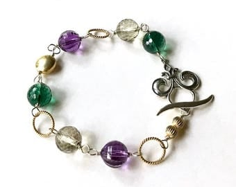 Purple Green Gemstone Gold Wire Wrapped  Bracelet  Fleur  de lis  Mixed Metals NOLA Mardi Gras For Her Under 160, US Free Shipping