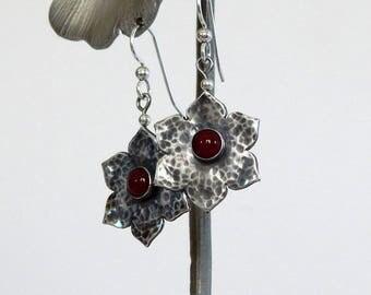 Sterling Silver Flower Earrings Dangle Earrings Floral Earrings Natural Gemstones Silver Flower Silver Earrings Gift For Her Flower Jewelry