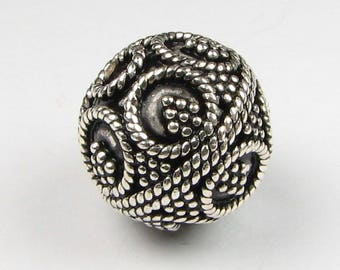 12mm Round Bali Sterling Silver Focal Bead with Fine Twisted Circles and Dots (1 bead)