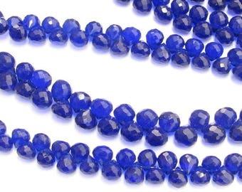 SHOP SALE Deep Cobalt Blue Quartz Onion Candy Kiss Briolette Gemstone Beads 6mm (10 pieces)