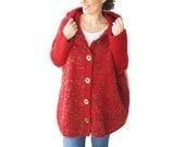 Hooded Cardigan, Plus Size Cardigan, Wool Hand Knitted Cardigan, Oversized Cardigan, Red Wool Cardigan