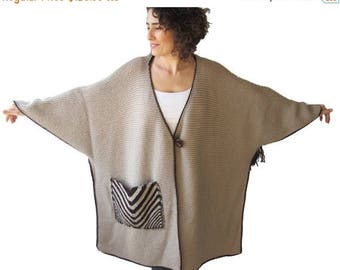 50% CLEARENCE Plus Size Hand Knitted Poncho with Fringes