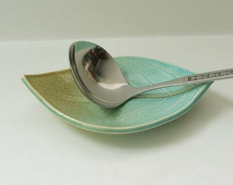 Ceramic Plate / Spoon rest, Hand Built, Persimmon Leaf, Blue Green
