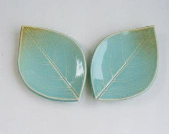Ceramic Leaf Plates/ Spoon Rest, Set of Two, Persimmon  Blue Green