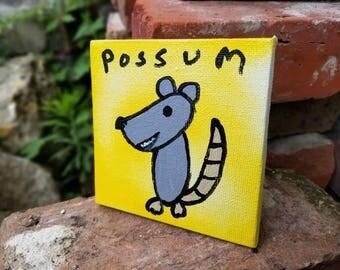Possum Painting on Mini Canvas