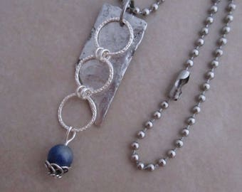 calm necklace blue sodalite stainless steel soldered copper