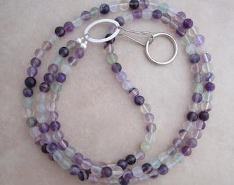 fluorite lanyard purple silver badge ID holder