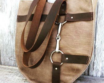 Equestrian Bag in Taupe Leather with Distressed Brown Straps and Silver Horse Bit by Stacy Leigh