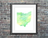 Ohio watercolor typograph...