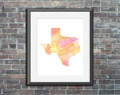 Texas watercolor typograp...