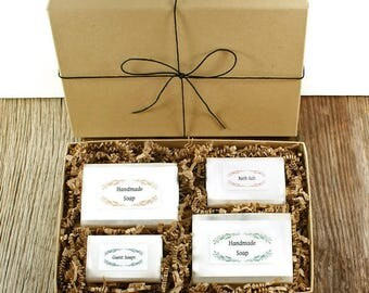 Boxed Gift Set | Cold Process Soaps, Guest Soaps, Bath Salt, Gift Boxed, Birthday Gift Idea, Women and Men All Ages | Your Choose Two Soaps