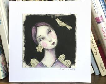 Original watercolor painting primitive angel girl purplish