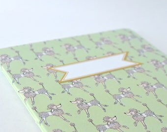 Prancing Dogs Summertime Notebook, Green White Dogs Macarons Diary, Handbound Blank Journal with Poodles, Softcover Notebook