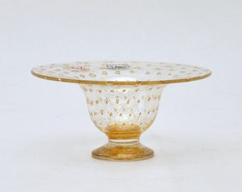 Murano Vetreria Artistica La Fenice Bulicante Gold Aventurine Glass Small Footed Bowl