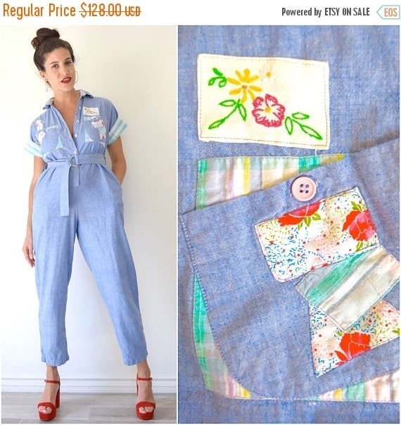 SUMMER SALE / 20% off Vintage 70s 80s Blue Chambray Patchwork Short Sleeved Cotton Jumpsuit (size small, medium)