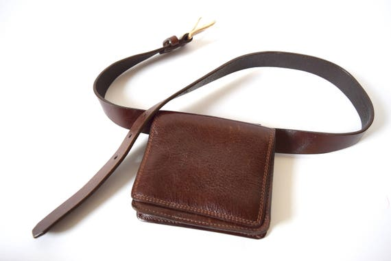 Vintage 70s 80s Brown Leather Belt with Detachable Pouch (size medium)
