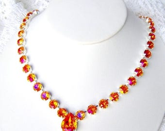 SALE Astral Pink rhinestone necklace / Swarovski Crystal / Bridesmaid / Statement necklace / gift for her / Tennis necklace / hot pink