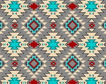 Native Argyle, Grey Multi ,Abstract, Fabric by David Textiles, Southwestern, Cotton Fabric - HALF YARD