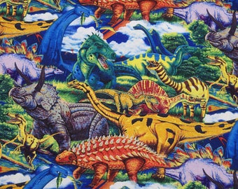 Age of the Dinosaurs, Multi, Fabric by David Textiles 100% Cotton,  HALF YARD