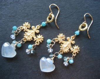 BAROQUE- pink/blue/black/sea foam chandelier  vermeil earring.