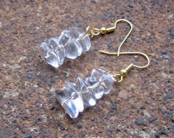 Eco-Friendly Dangle Earrings - Moments of Clarity - Short Stacks of Clear Recycled Vintage Lucite Nugget Beads for Pierced Ears