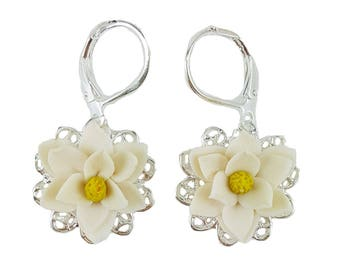 Magnolia Filigree Earrings - Magnolia Vintage Style Earrings, Magnolia Jewelry
