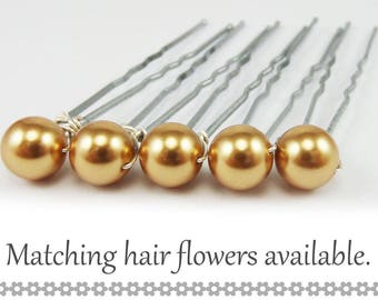 Gold Pearl Hair Pins - 8mm Gold Swarovski Pearls (5 qty) - FLAT RATE SHIPPING