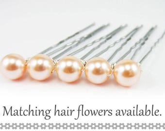 Peach Pearl Hair Pins - 8mm Light Coral Swarovski Pearls (5 qty) - FLAT RATE SHIPPING