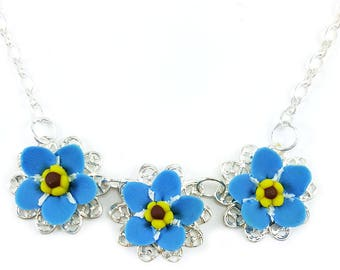Three Forget Me Not Necklace - Trio Forget Me Not Jewelry, Forget Me Not Filigree Necklace