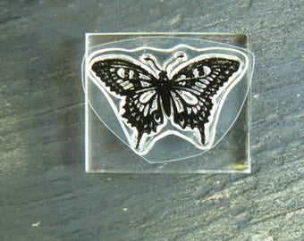 C1 Small Butterfly Crystal clear rubber stamp, mounted