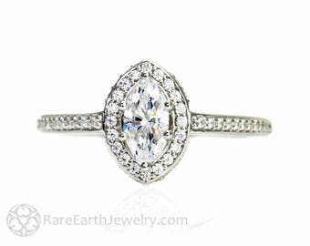 14K Marquise Moissanite Engagement Ring Diamond Halo Moissanite Ring Conflict Free Diamond Alternative Custom Bridal Jewelry