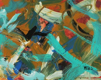 """Taffy Pull- Abstract Painting - By Metro the Painting Racehorse 11x14"""""""