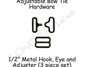 "25 Sets Small Bow Tie Hardware Fastener Clips - 1/2"" Rounded Edge Slide Adjuster*, Hook and Eye - Black Metal - SEE COUPON"