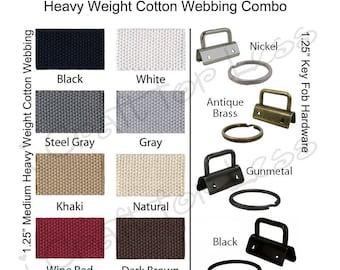 10 Yards Cotton Webbing Medium-Heavy / 25 Key Fob Hardware Combo - 1.25 Inch - Plus Instructions - SEE COUPON