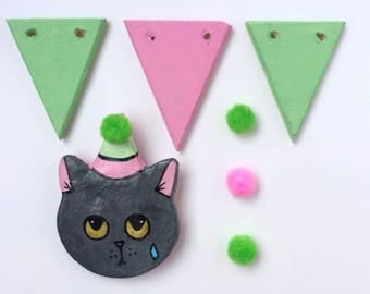 Sad Kitten's Party Brooches - Gigio - ooak