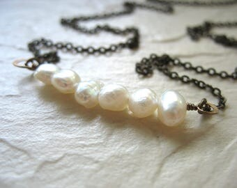 Pearl Necklace, White Pearl Statement Chain Necklace, handmade artisan pearl jewelry, White Pearl Jewelry