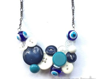 Evil Eye Vintage Button Statement Necklace in Blue and White