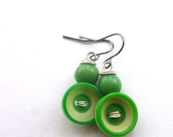 BUTTON JEWELRY SALE Bright Green and White Earrings made with Buttons