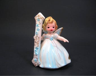 Josef Originals 1 Year Birthday Girl Angel - Blonde in Blue Dress - Vintage Figurine Collectible - Birthday Cake Topper - Ceramic Japan