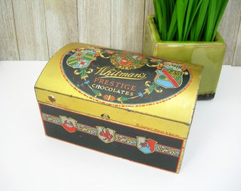 Whitman's Chocolate Candy Tin Box with Hinged Lid - Stash Box - Collectible Vintage Tins - Colorful Coat of Arms Design on Gold and Black