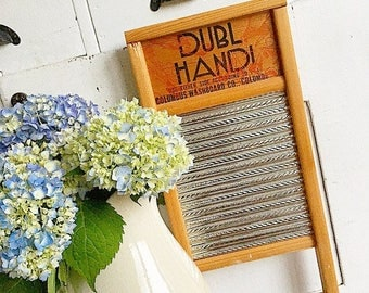 Rub a Dub Dub... Vintage Dubl Handi Washboard Columbus Washboard Co. Ohio Vintage Advertising Farmhouse Decor Rustic Laundry Room Galvanized