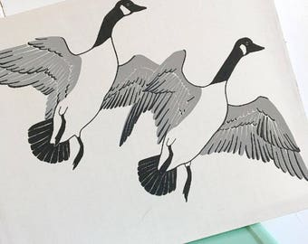 Silly Goose... Vintage Mid-Century Modern MARUSHKA Silkscreen Print of Canadian Geese Goose on Stretched Canvas