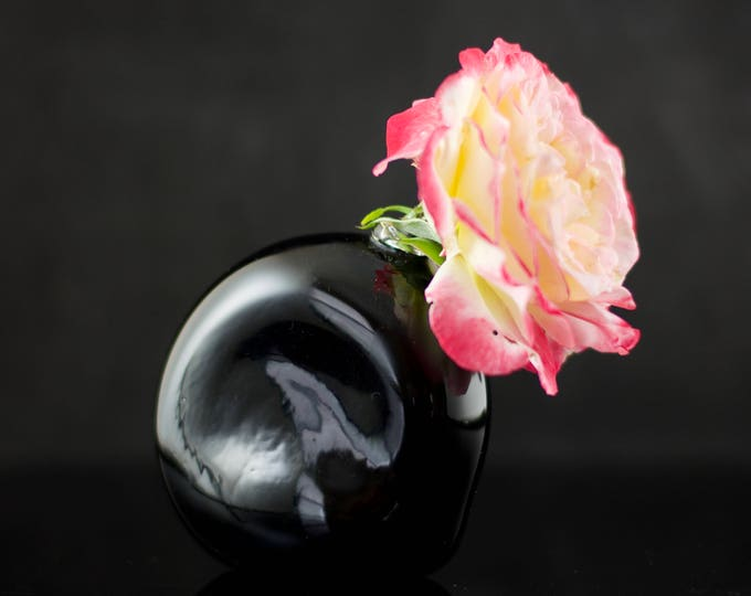 Featured listing image: Glass Bud Vase / Black Vase / Hand Blown Glass Vessel / Glass Flower Vase / Glass Planter / Rooting Container / Black / Ready to Ship #645