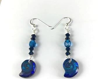 Crystal Nautilus Earrings Blue Teal Silver
