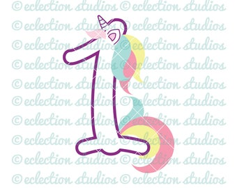 Unicorn SVG, Unicorn 1 One, First Birthday Unicorn number, commercial use SVG, DXF, eps, jpg, png file for silhouette/cricut cutting machine