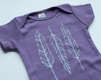 Feather Baby bodysuit baby shower gift coming home outfit  baby gift