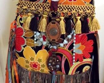 Handmade Purse Tropical Soft Sturdy Black Multicolor Boho Shoulder Crossbody Bag Mod Hippie Floral Bag Fringe